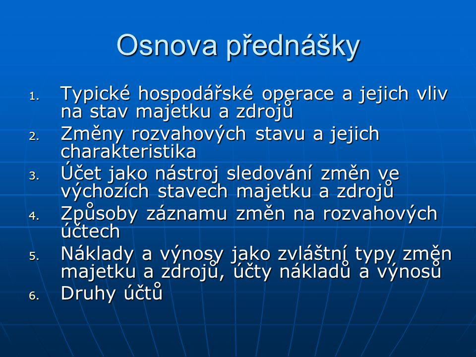 Osnova přednášky 1.Typické hospodářské operace a jejich vliv na stav majetku a zdrojů 2.