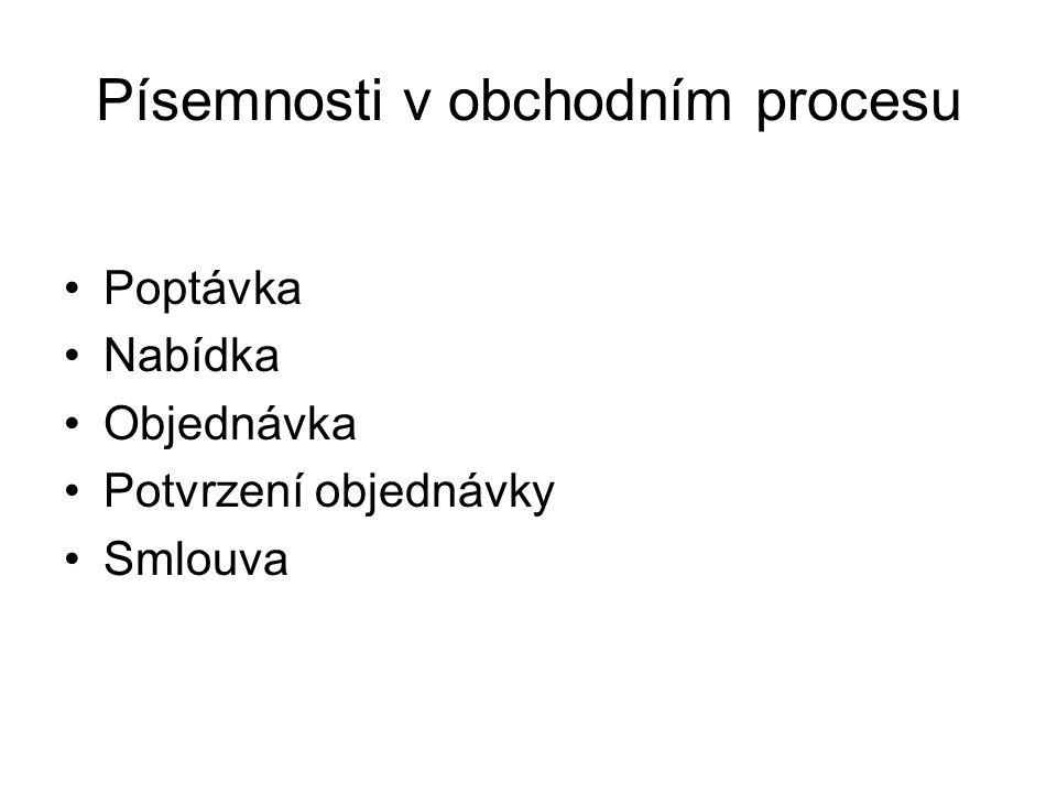 Písemnosti v obchodním procesu Poptávka Nabídka Objednávka Potvrzení objednávky Smlouva