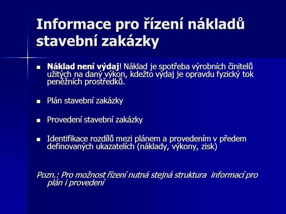 Informace pro řízení nákladů stavební zakázky Náklad není výdaj! Náklad je spotřeba výrobních činitelů užitých na daný výkon, kdežto výdaj je opravdu