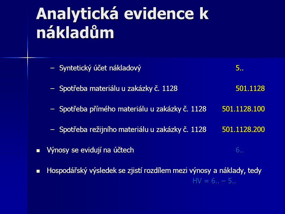 Analytická evidence k nákladům –Syntetický účet nákladový 5.. –Spotřeba materiálu u zakázky č. 1128 501.1128 –Spotřeba přímého materiáluu zakázky č. 1