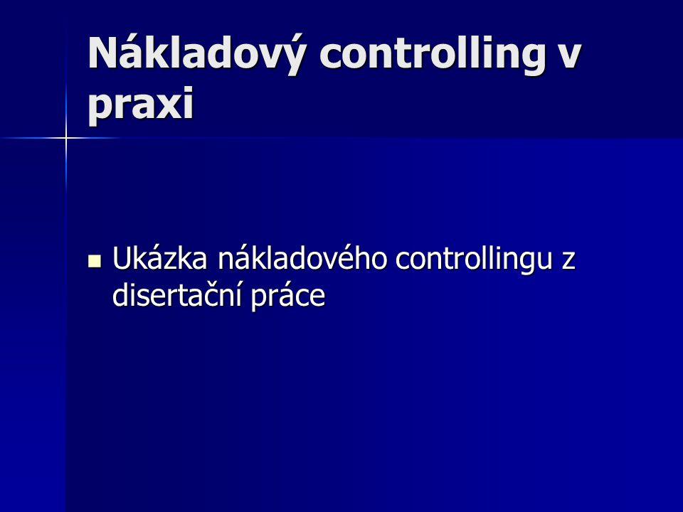 Nákladový controlling v praxi Ukázka nákladového controllingu z disertační práce Ukázka nákladového controllingu z disertační práce