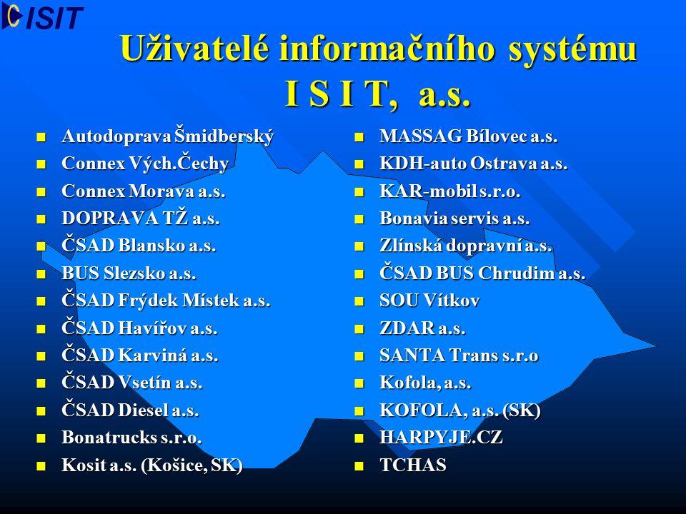 Uživatelé informačního systému I S I T, a.s. Autodoprava Šmidberský Autodoprava Šmidberský Connex Vých.Čechy Connex Vých.Čechy Connex Morava a.s. Conn