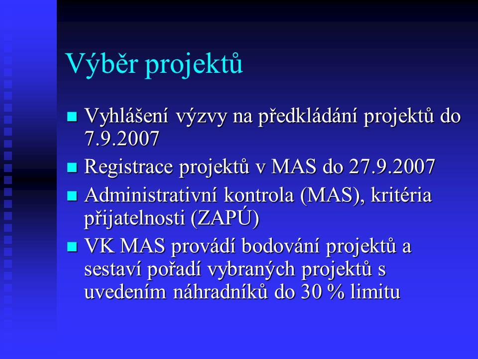 Výběr projektů Vyhlášení výzvy na předkládání projektů do 7.9.2007 Vyhlášení výzvy na předkládání projektů do 7.9.2007 Registrace projektů v MAS do 27.9.2007 Registrace projektů v MAS do 27.9.2007 Administrativní kontrola (MAS), kritéria přijatelnosti (ZAPÚ) Administrativní kontrola (MAS), kritéria přijatelnosti (ZAPÚ) VK MAS provádí bodování projektů a sestaví pořadí vybraných projektů s uvedením náhradníků do 30 % limitu VK MAS provádí bodování projektů a sestaví pořadí vybraných projektů s uvedením náhradníků do 30 % limitu