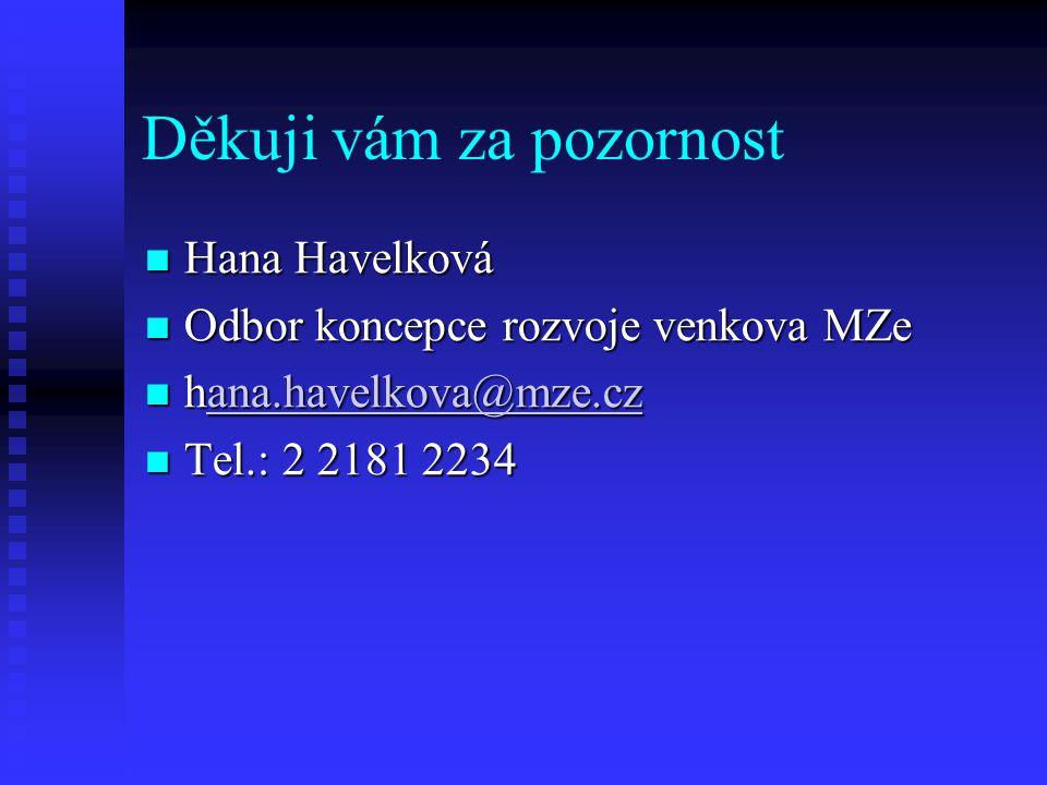 Děkuji vám za pozornost Hana Havelková Hana Havelková Odbor koncepce rozvoje venkova MZe Odbor koncepce rozvoje venkova MZe hana.havelkova@mze.cz hana.havelkova@mze.czana.havelkova@mze.cz Tel.: 2 2181 2234 Tel.: 2 2181 2234