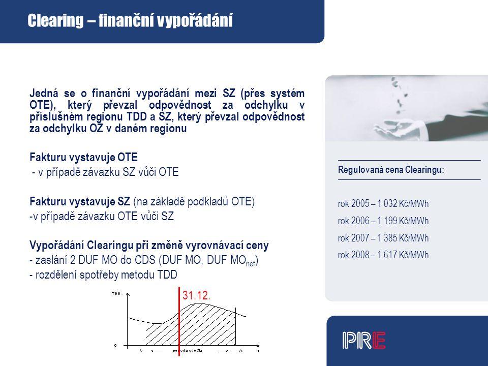 Regulovaná cena Clearingu: rok 2005 – 1 032 Kč/MWh rok 2006 – 1 199 Kč/MWh rok 2007 – 1 385 Kč/MWh rok 2008 – 1 617 Kč/MWh Clearing – finanční vypořádání Jedná se o finanční vypořádání mezi SZ (přes systém OTE), který převzal odpovědnost za odchylku v příslušném regionu TDD a SZ, který převzal odpovědnost za odchylku OZ v daném regionu Fakturu vystavuje OTE - v případě závazku SZ vůči OTE Fakturu vystavuje SZ (na základě podkladů OTE) -v případě závazku OTE vůči SZ Vypořádání Clearingu při změně vyrovnávací ceny - zaslání 2 DUF MO do CDS (DUF MO, DUF MO nef ) - rozdělení spotřeby metodu TDD 31.12.