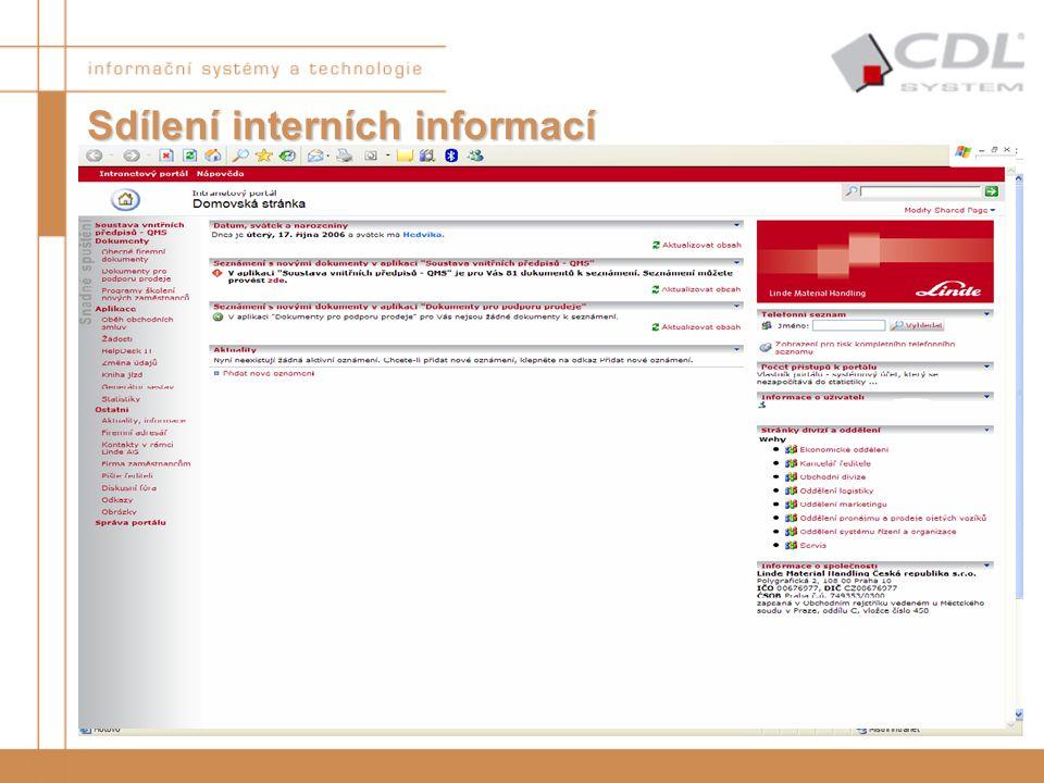 """""""Úvodní stránka"""" –Telefonní seznam –Novinky ve společnosti –Informace o výročích –Odkazy na další zdroje –Informace o uživatelích (s možností úpravy v"""