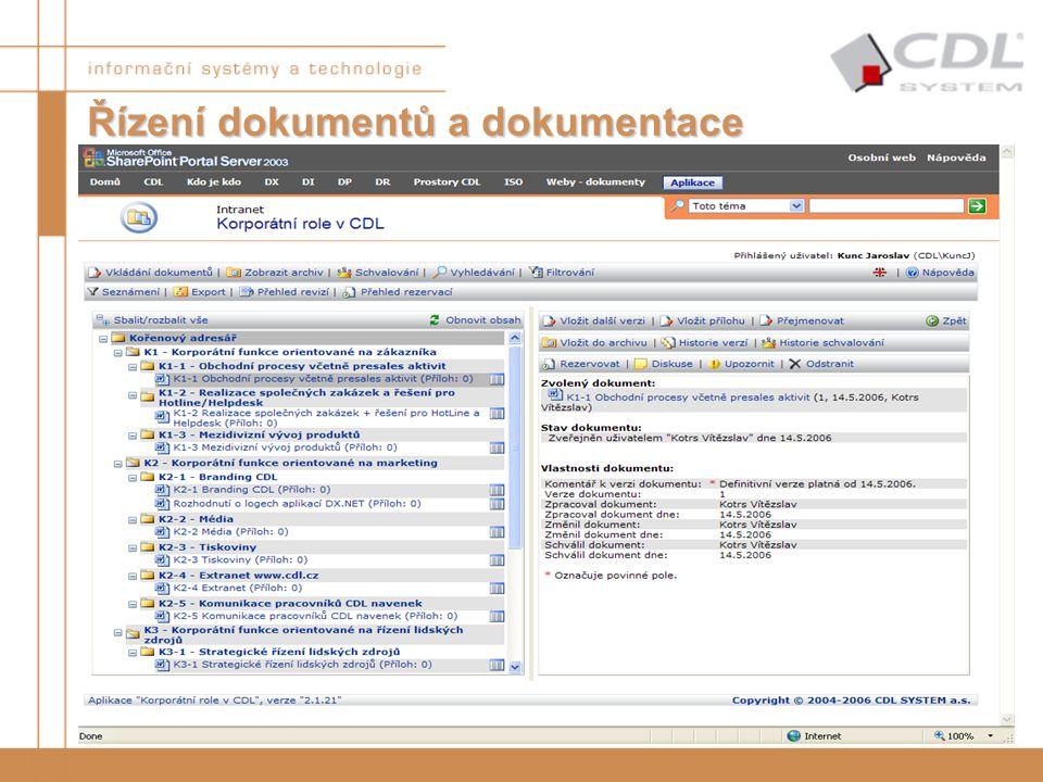 Řízení dokumentů a dokumentace Správa dokumentů –libovolná definice vlastností dokumentů –schvalovací proces (sériový i paralelní) –archivace dokument