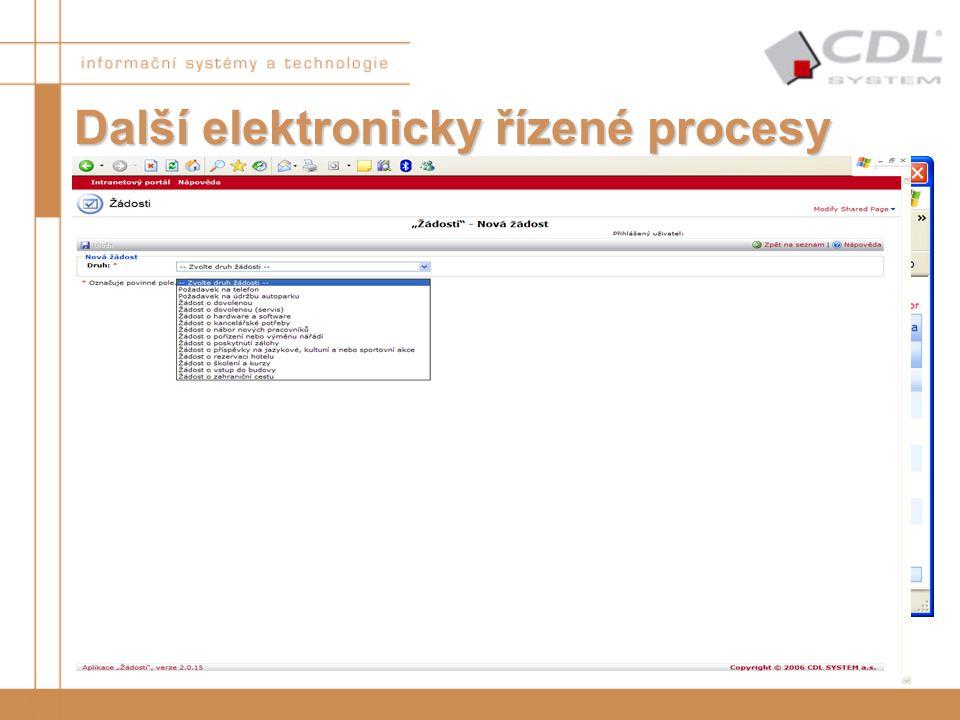 """Další elektronicky řízené procesy Ne vždy je vhodné provozovat workflow nad dokumentovou strukturou Ne vždy je třeba """"schvalovat"""" dokument Nasazené ře"""