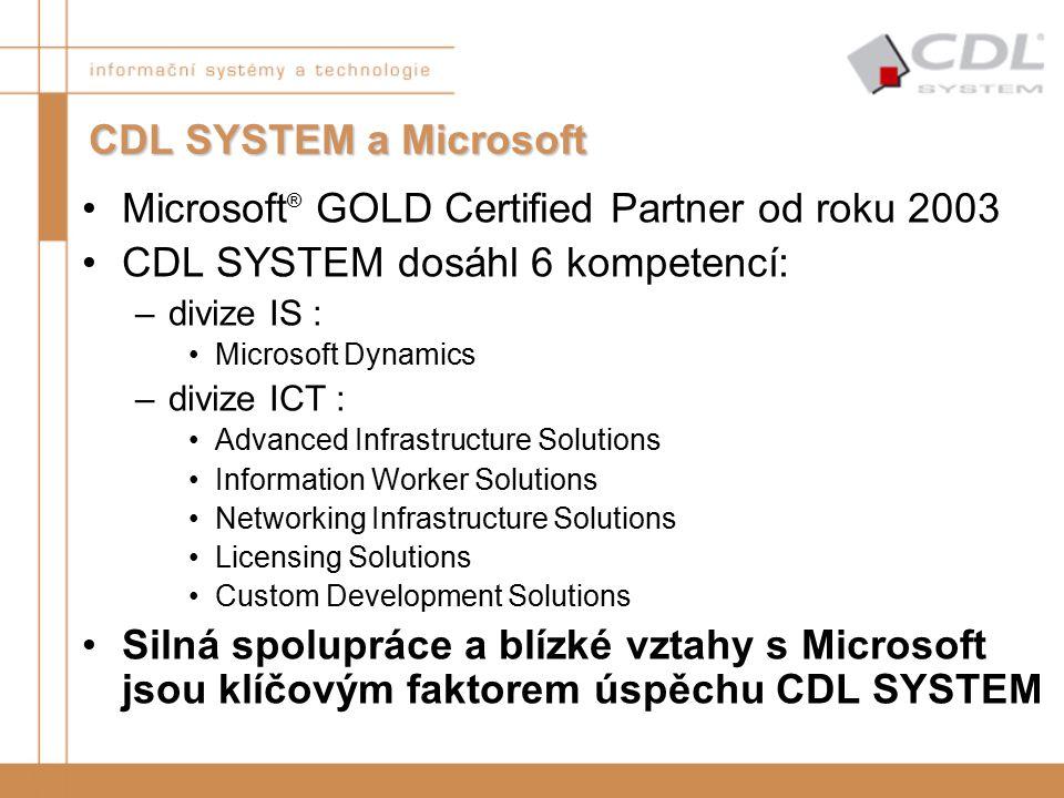 Microsoft ® GOLD Certified Partner od roku 2003 CDL SYSTEM dosáhl 6 kompetencí: –divize IS : Microsoft Dynamics –divize ICT : Advanced Infrastructure