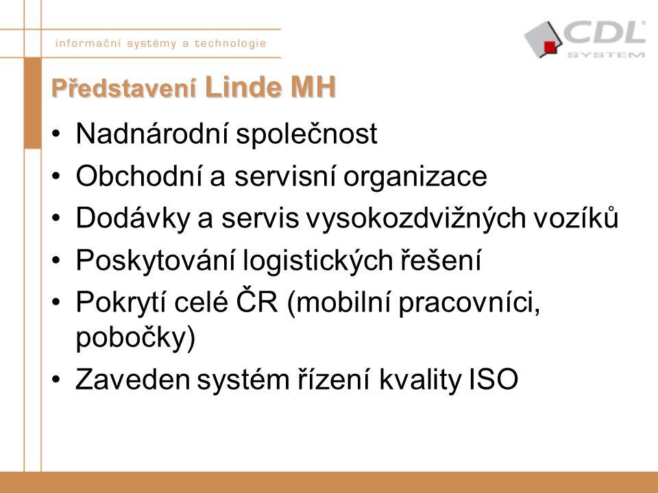 Představení Linde MH Nadnárodní společnost Obchodní a servisní organizace Dodávky a servis vysokozdvižných vozíků Poskytování logistických řešení Pokr