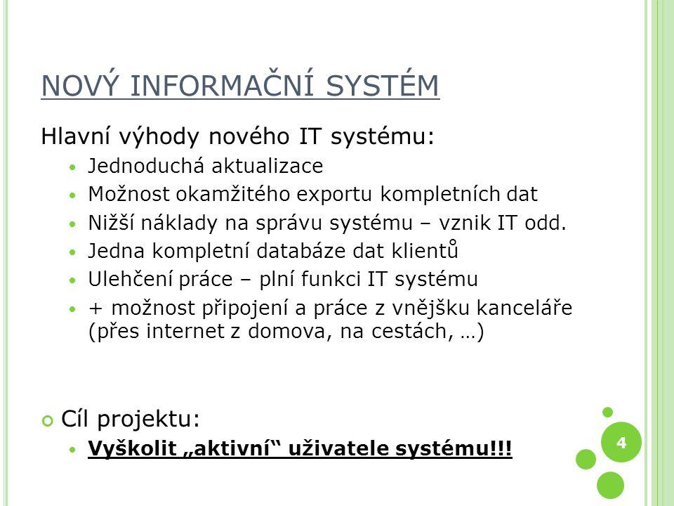 4 NOVÝ INFORMAČNÍ SYSTÉM Hlavní výhody nového IT systému: Jednoduchá aktualizace Možnost okamžitého exportu kompletních dat Nižší náklady na správu systému – vznik IT odd.