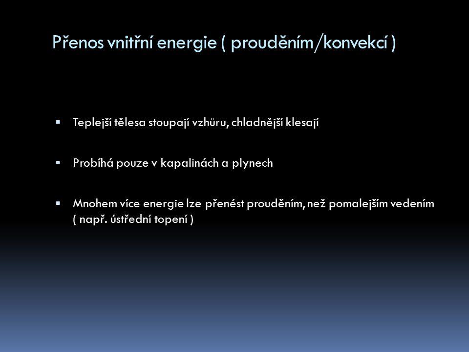 Přenos vnitřní energie ( zářením/radiací )  Výměna tepla mezi 2 tělesy je uskutečněna vyzářením a pohlcením elektromagnetického záření  Tepelné záření může být odraženo, propuštěno nebo pohlceno  Přenos energie může probíhat i ve vakuu