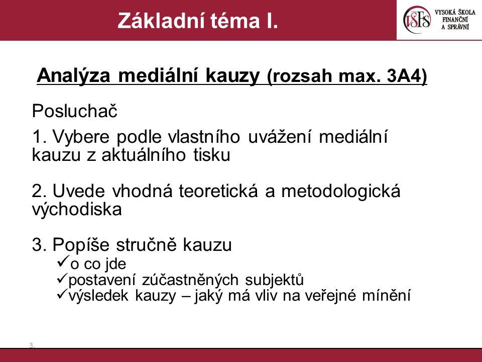 3.3. Základní téma I. Analýza mediální kauzy (rozsah max. 3A4) Posluchač 1. Vybere podle vlastního uvážení mediální kauzu z aktuálního tisku 2. Uvede