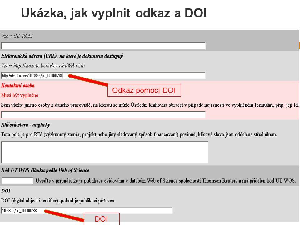 Ukázka, jak vyplnit odkaz a DOI Odkaz pomocí DOI DOI