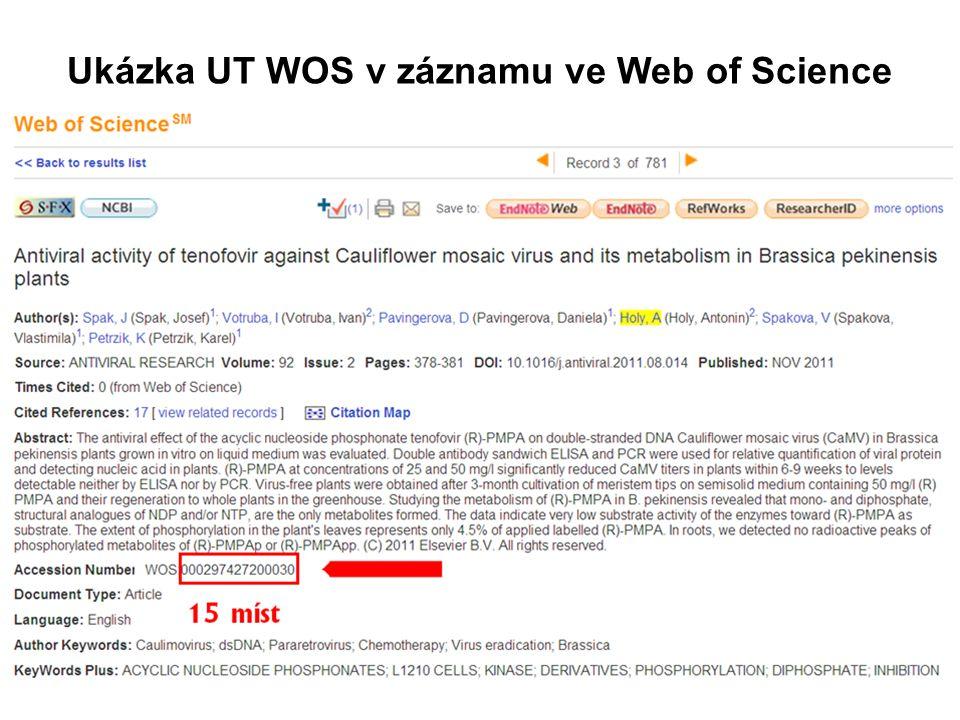 Ukázka UT WOS v záznamu ve Web of Science