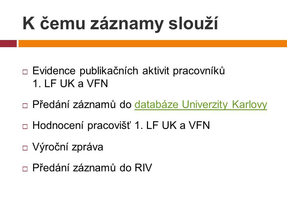 K čemu záznamy slouží  Evidence publikačních aktivit pracovníků 1.