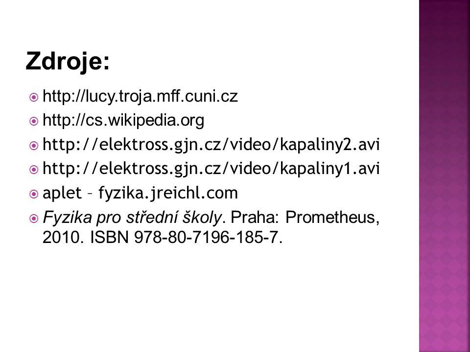  http://lucy.troja.mff.cuni.cz  http://cs.wikipedia.org  http://elektross.gjn.cz/video/kapaliny2.avi  http://elektross.gjn.cz/video/kapaliny1.avi  aplet – fyzika.jreichl.com  Fyzika pro střední školy.