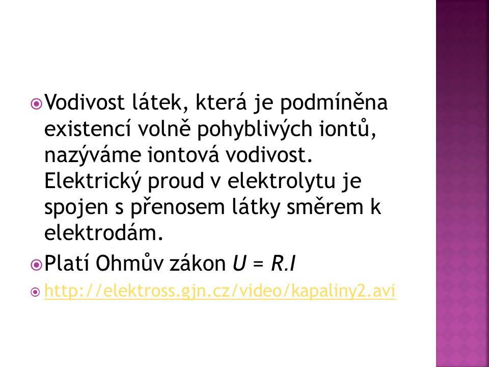  Vodivost látek, která je podmíněna existencí volně pohyblivých iontů, nazýváme iontová vodivost. Elektrický proud v elektrolytu je spojen s přenosem