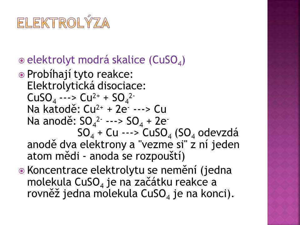 elektrolyt modrá skalice (CuSO 4 )  Probíhají tyto reakce: Elektrolytická disociace: CuSO 4 ---> Cu 2+ + SO 4 2- Na katodě: Cu 2+ + 2e - ---> Cu Na anodě: SO 4 2- ---> SO 4 + 2e - SO 4 + Cu ---> CuSO 4 (SO 4 odevzdá anodě dva elektrony a vezme si z ní jeden atom mědi - anoda se rozpouští)  Koncentrace elektrolytu se nemění (jedna molekula CuSO 4 je na začátku reakce a rovněž jedna molekula CuSO 4 je na konci).