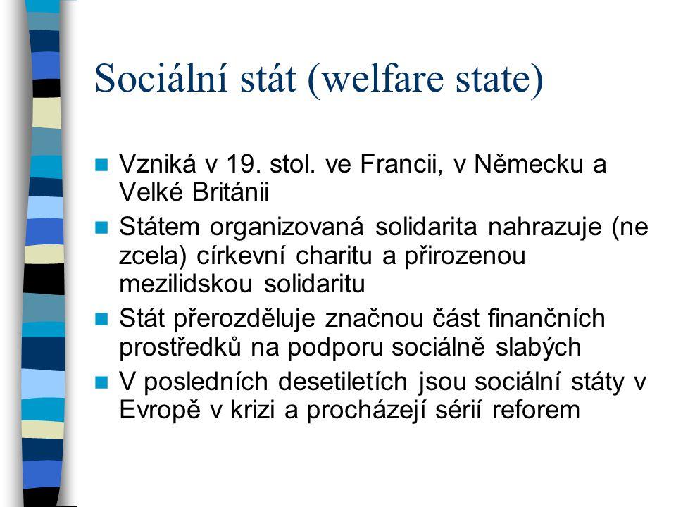 Sociální stát (welfare state) Vzniká v 19. stol. ve Francii, v Německu a Velké Británii Státem organizovaná solidarita nahrazuje (ne zcela) církevní c