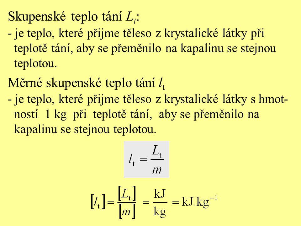 Skupenské teplo tání L t : - je teplo, které přijme těleso z krystalické látky při teplotě tání, aby se přeměnilo na kapalinu se stejnou teplotou. Měr