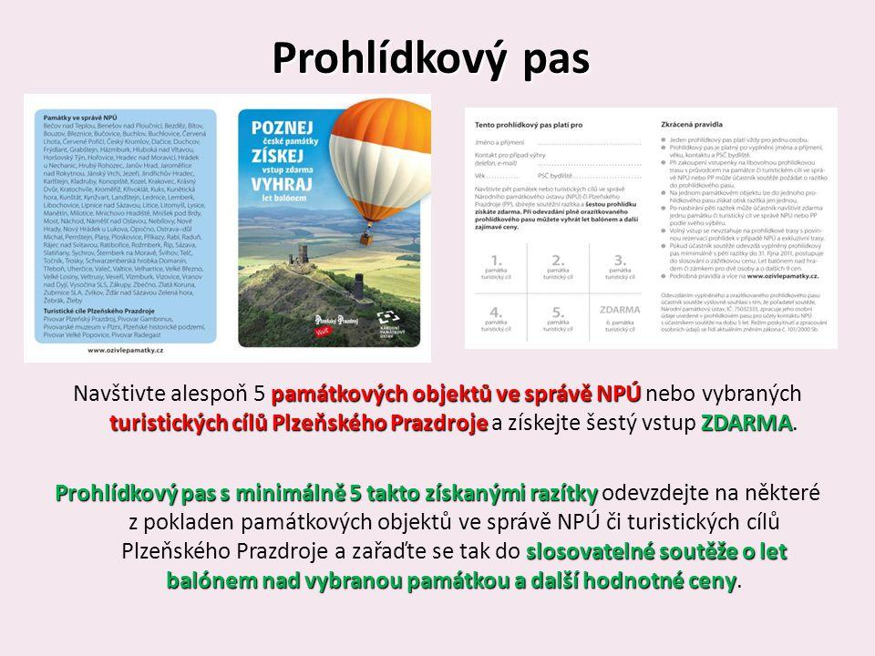 Prohlídkový pas památkových objektů ve správě NPÚ turistických cílů Plzeňského PrazdrojeZDARMA Navštivte alespoň 5 památkových objektů ve správě NPÚ nebo vybraných turistických cílů Plzeňského Prazdroje a získejte šestý vstup ZDARMA.