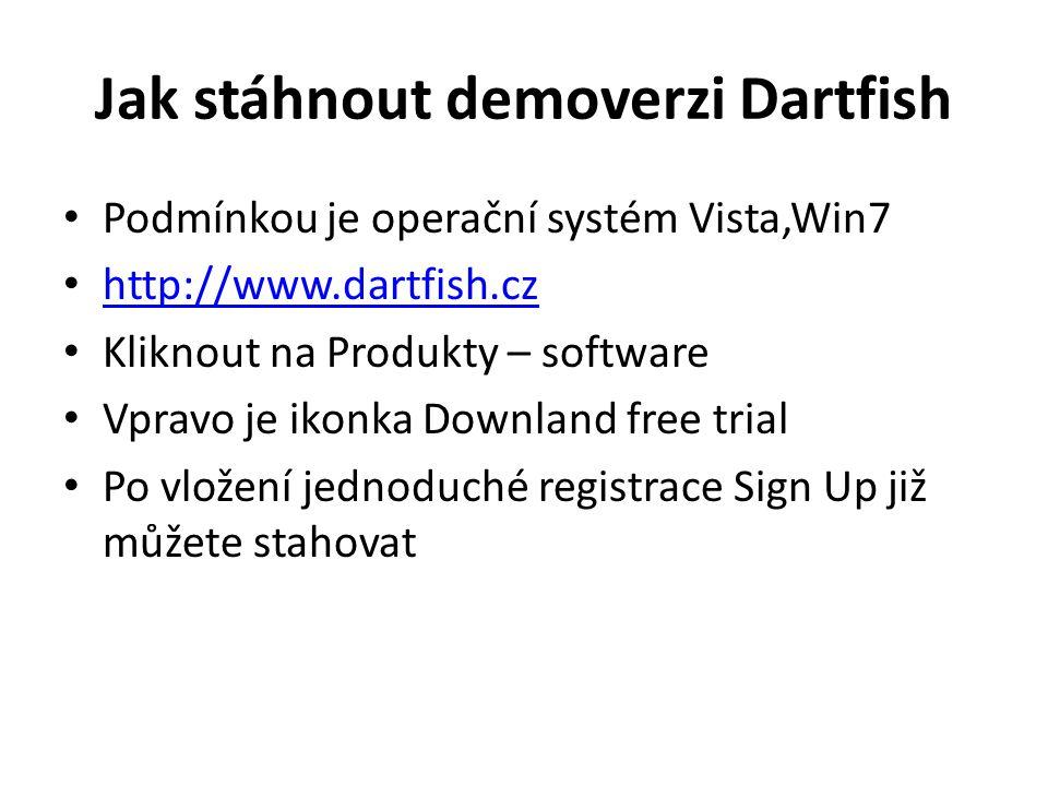 Jak stáhnout demoverzi Dartfish Podmínkou je operační systém Vista,Win7 http://www.dartfish.cz Kliknout na Produkty – software Vpravo je ikonka Downla