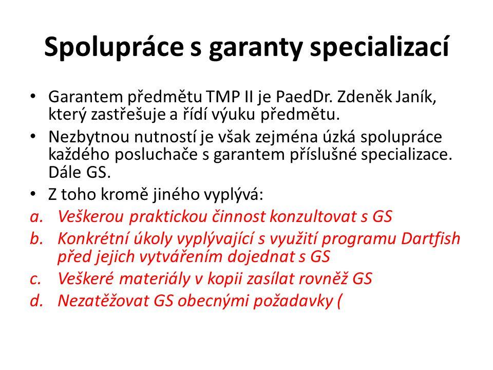 Spolupráce s garanty specializací Garantem předmětu TMP II je PaedDr. Zdeněk Janík, který zastřešuje a řídí výuku předmětu. Nezbytnou nutností je však