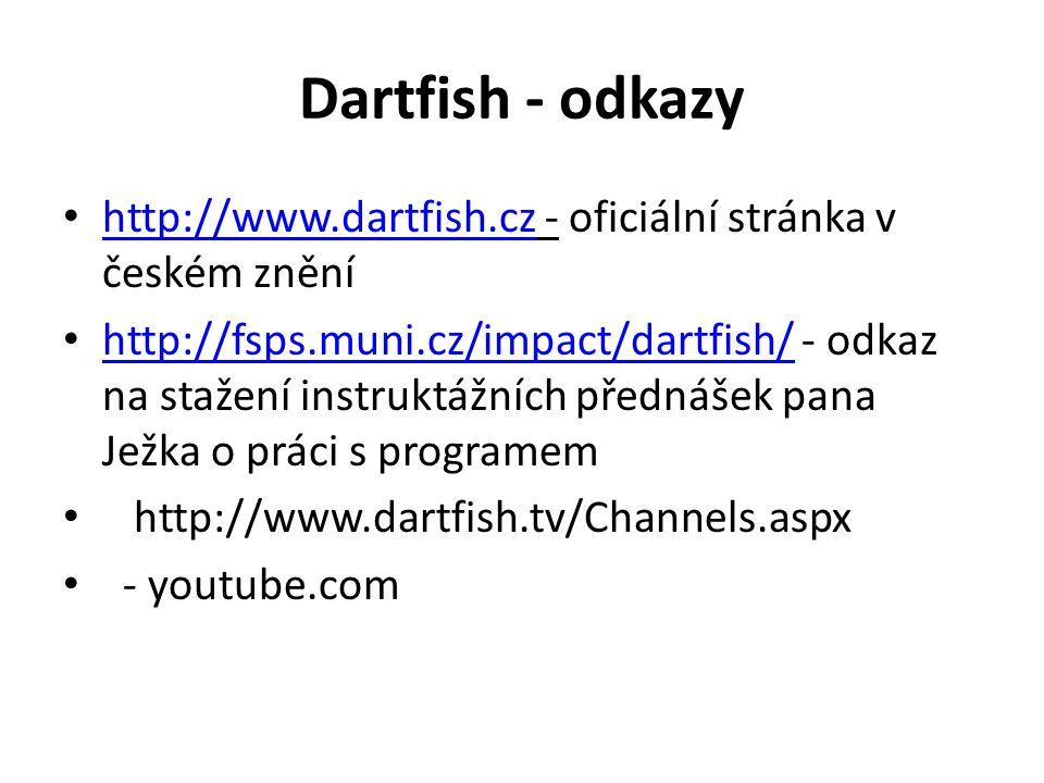 Dartfish - odkazy http://www.dartfish.cz - oficiální stránka v českém znění http://www.dartfish.cz http://fsps.muni.cz/impact/dartfish/ - odkaz na sta
