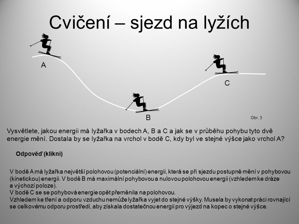 Cvičení – sjezd na lyžích Vysvětlete, jakou energii má lyžařka v bodech A, B a C a jak se v průběhu pohybu tyto dvě energie mění. Dostala by se lyžařk