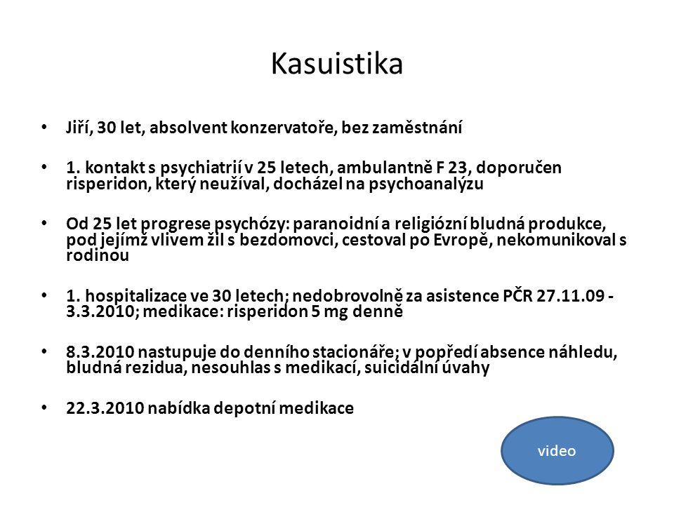 Kasuistika Jiří, 30 let, absolvent konzervatoře, bez zaměstnání 1. kontakt s psychiatrií v 25 letech, ambulantně F 23, doporučen risperidon, který neu