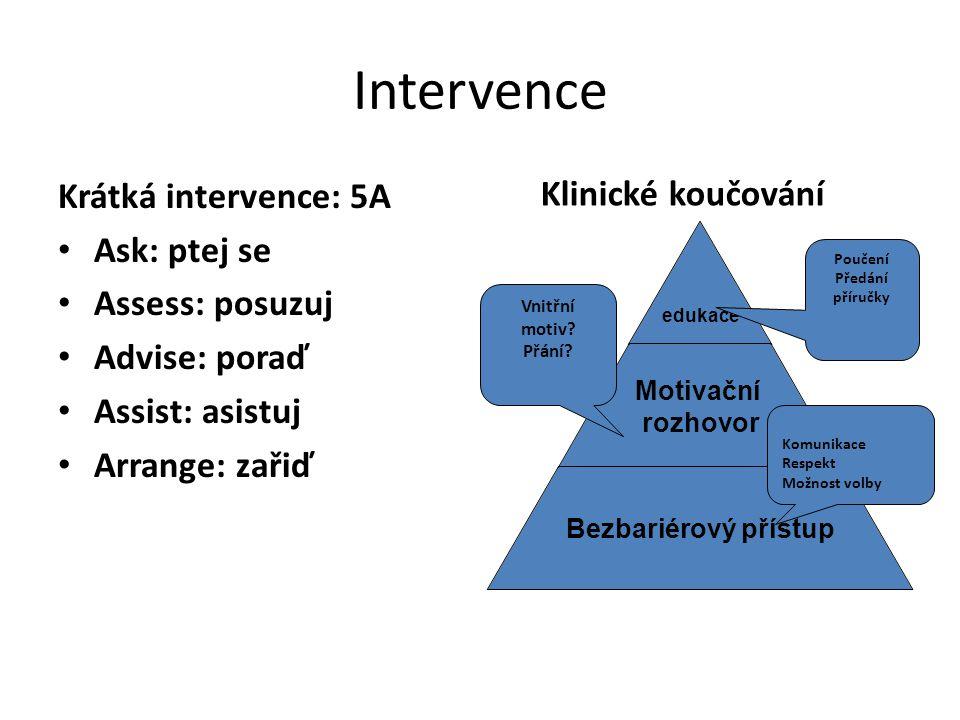 Intervence Krátká intervence: 5A Ask: ptej se Assess: posuzuj Advise: poraď Assist: asistuj Arrange: zařiď edukace Motivační rozhovor Bezbariérový pří