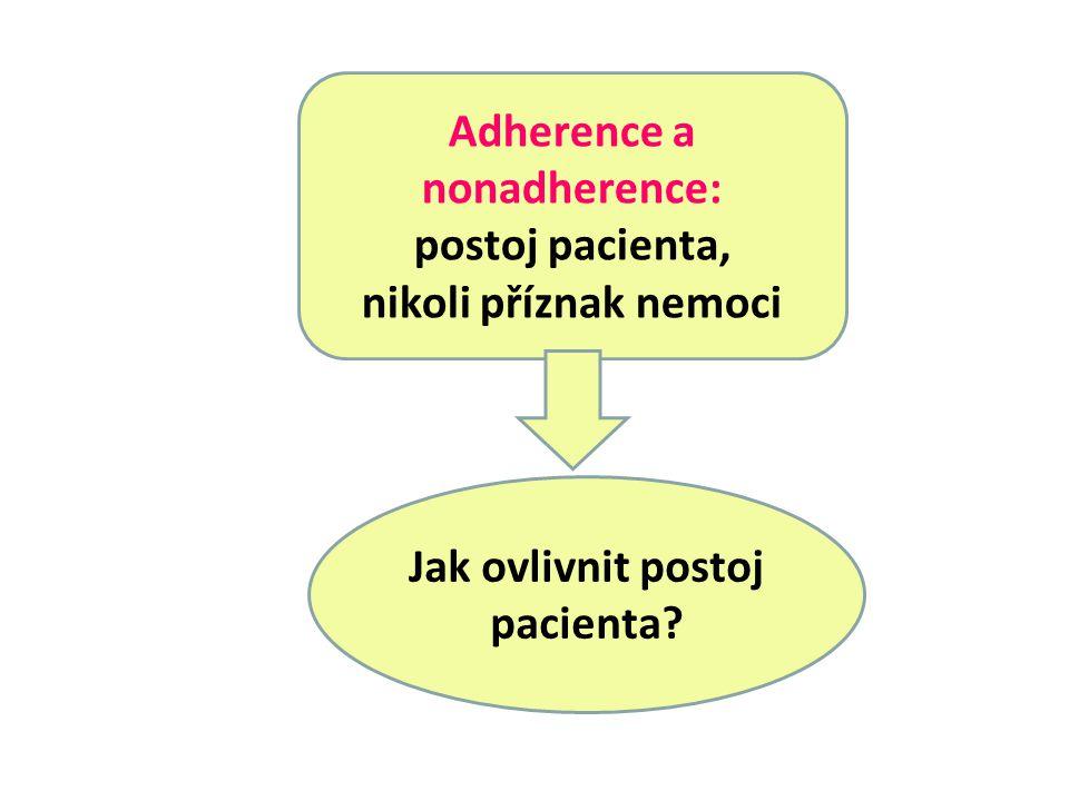 Adherence a nonadherence: postoj pacienta, nikoli příznak nemoci Jak ovlivnit postoj pacienta?