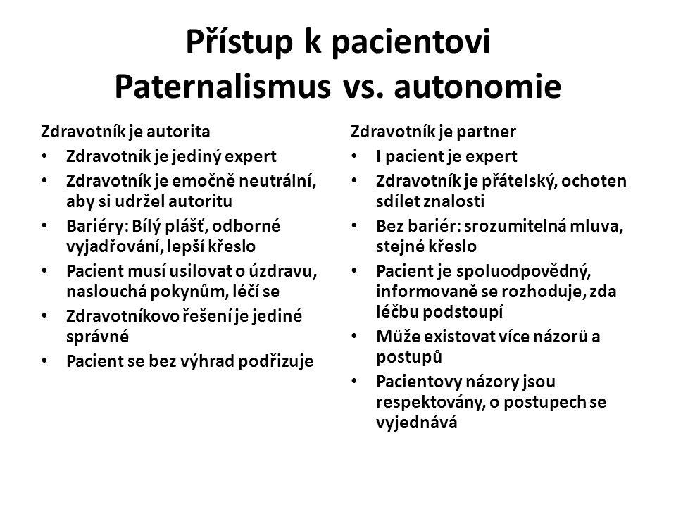 Přístup k pacientovi Paternalismus vs. autonomie Zdravotník je autorita Zdravotník je jediný expert Zdravotník je emočně neutrální, aby si udržel auto