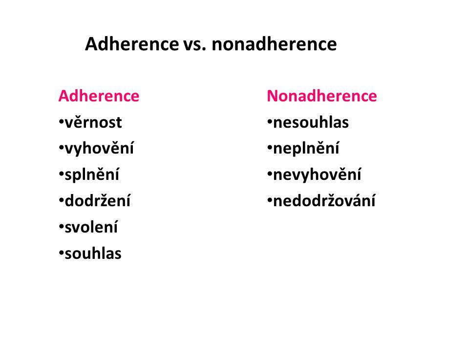 Adherence vs. nonadherence Adherence věrnost vyhovění splnění dodržení svolení souhlas Nonadherence nesouhlas neplnění nevyhovění nedodržování