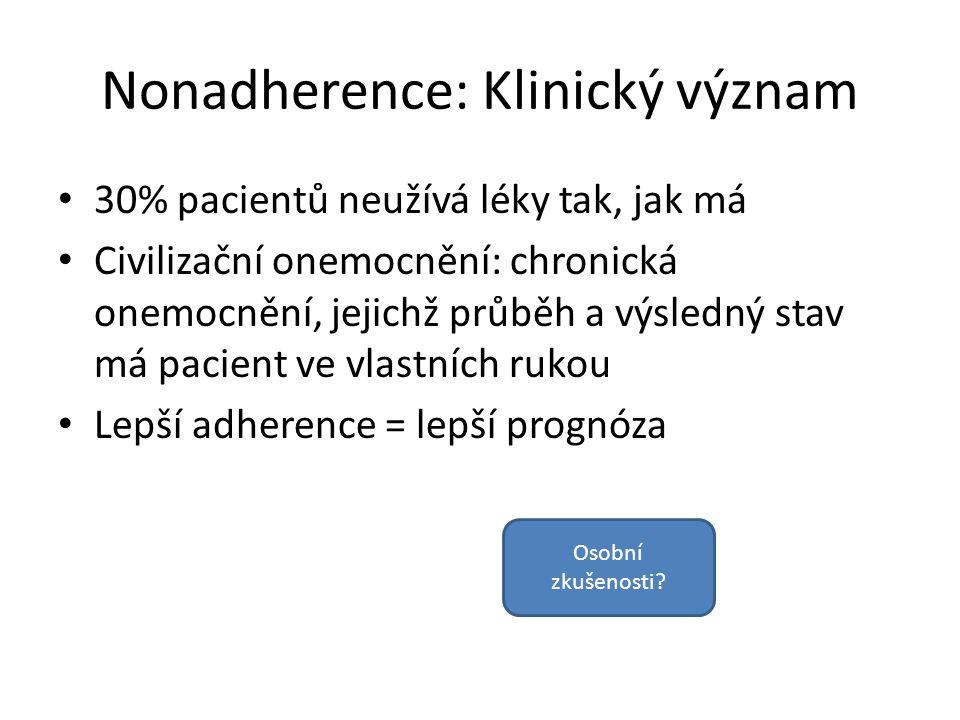 Nonadherence: Klinický význam 30% pacientů neužívá léky tak, jak má Civilizační onemocnění: chronická onemocnění, jejichž průběh a výsledný stav má pa