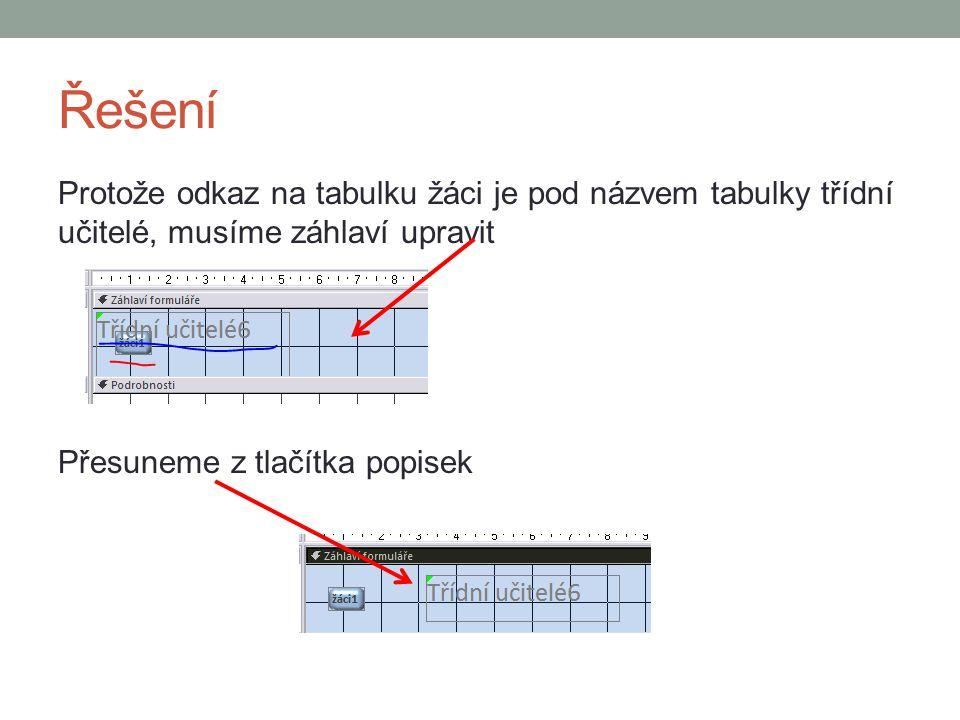 Řešení Formulář třídní učitelé Přepíšeme popisek, tlačítko, upravíme velikosti, písmo, barvy pozadí, přidáme efekty