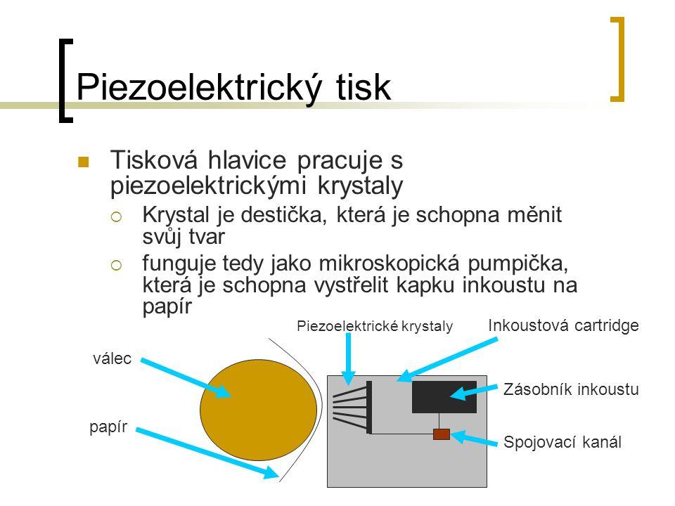 Piezoelektrický tisk Tisková hlavice pracuje s piezoelektrickými krystaly  Krystal je destička, která je schopna měnit svůj tvar  funguje tedy jako