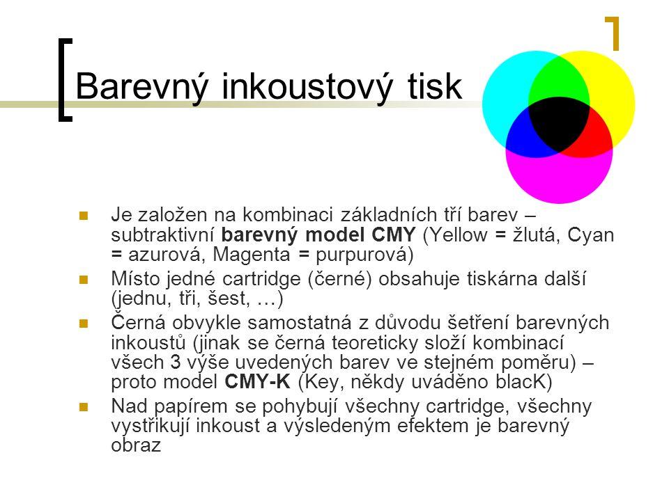 Barevný inkoustový tisk Je založen na kombinaci základních tří barev – subtraktivní barevný model CMY (Yellow = žlutá, Cyan = azurová, Magenta = purpu