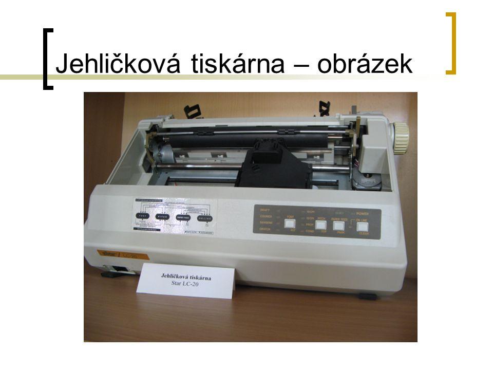 Inkoustová tiskárna Nyní velice levná (od 1000 Kč), dostupná každému Výborná kvalita tisku Nutno sledovat náklady na tisk Menší odolnost vytištěného dokumentu (rozpití, rozmazání) Barevný tisk, fotografický tisk Výsledný tisk složen z malých teček, rozlišení obvykle 600, 1200, 2400 DPI 3 nejčastější technologie – termická, piezoelektrická, vosková (tuhý inkoust)