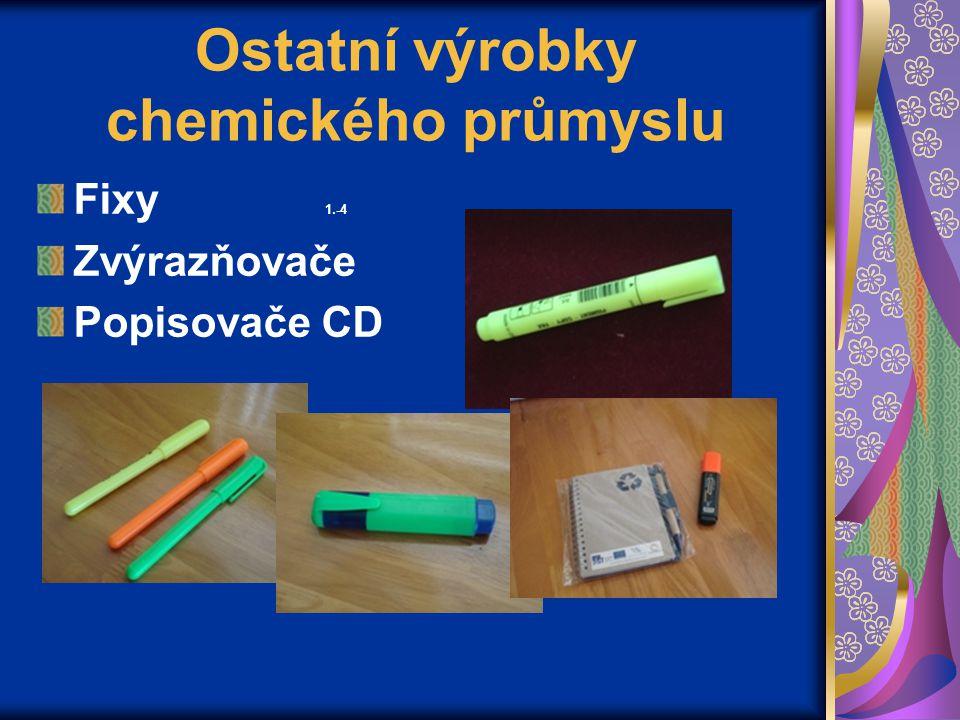 Ostatní výrobky chemického průmyslu Fixy 1.-4 Zvýrazňovače Popisovače CD
