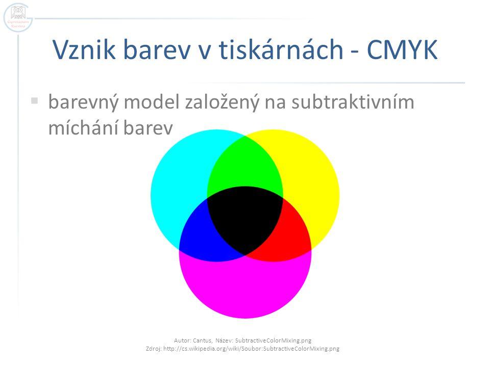 Vznik barev v tiskárnách - CMYK Autor: Cantus, Název: SubtractiveColorMixing.png Zdroj: http://cs.wikipedia.org/wiki/Soubor:SubtractiveColorMixing.png