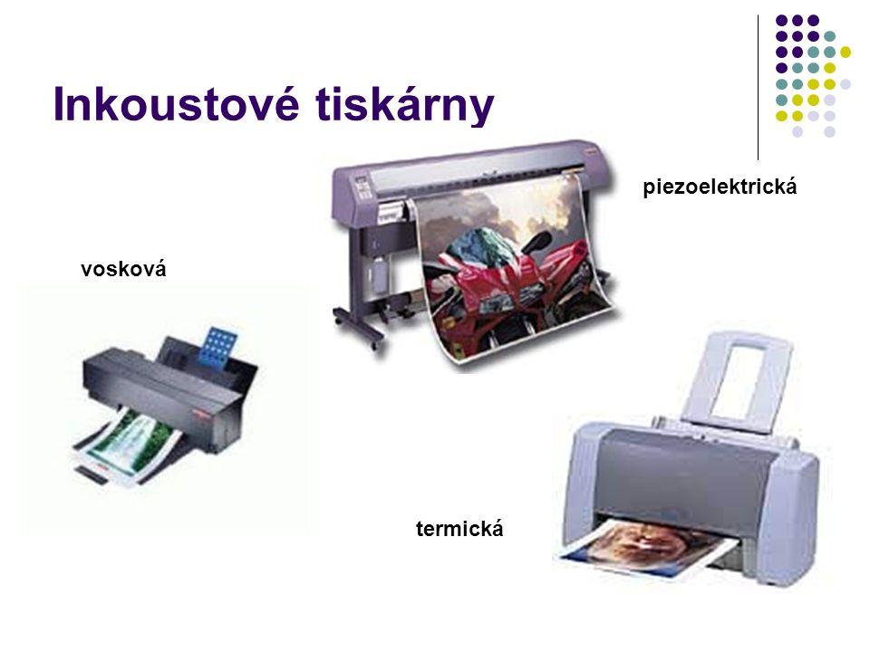 Inkoustové tiskárny piezoelektrická termická vosková