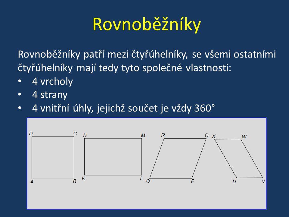 Rovnoběžníky Rovnoběžníky patří mezi čtyřúhelníky, se všemi ostatními čtyřúhelníky mají tedy tyto společné vlastnosti: 4 vrcholy 4 strany 4 vnitřní úh
