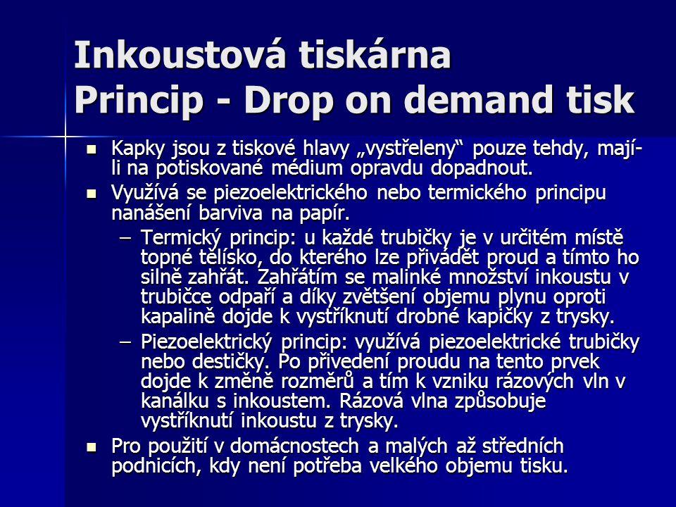 """Inkoustová tiskárna Princip - Drop on demand tisk Kapky jsou z tiskové hlavy """"vystřeleny"""" pouze tehdy, mají- li na potiskované médium opravdu dopadnou"""