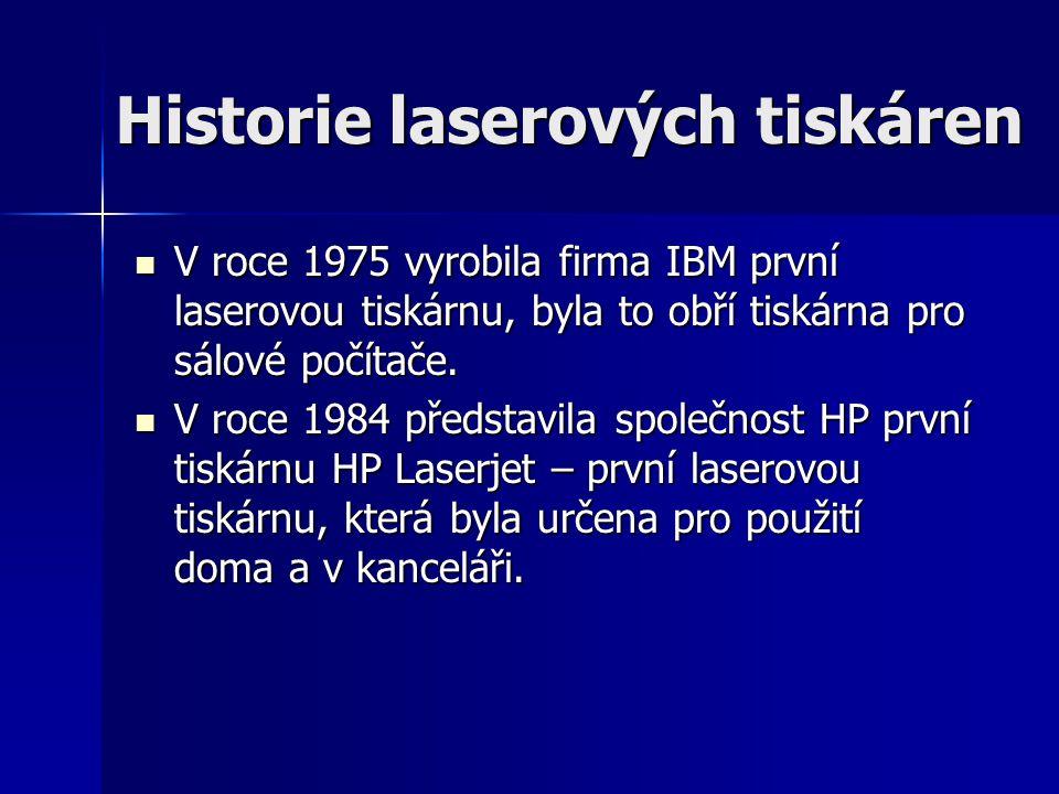 Historie laserových tiskáren V roce 1975 vyrobila firma IBM první laserovou tiskárnu, byla to obří tiskárna pro sálové počítače. V roce 1975 vyrobila