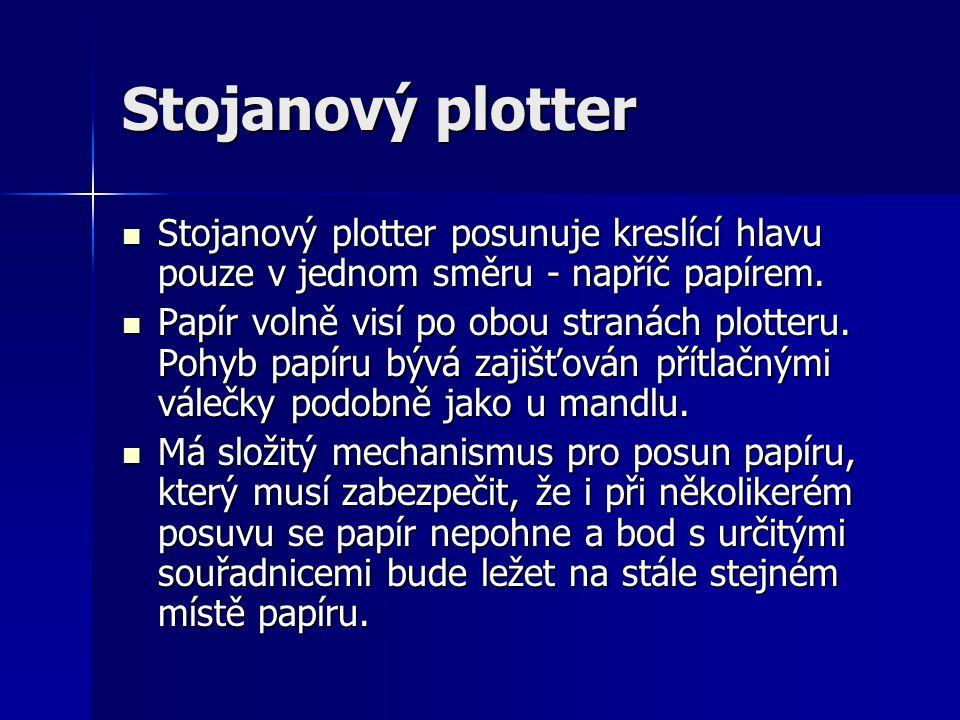 Stojanový plotter Stojanový plotter posunuje kreslící hlavu pouze v jednom směru - napříč papírem. Stojanový plotter posunuje kreslící hlavu pouze v j