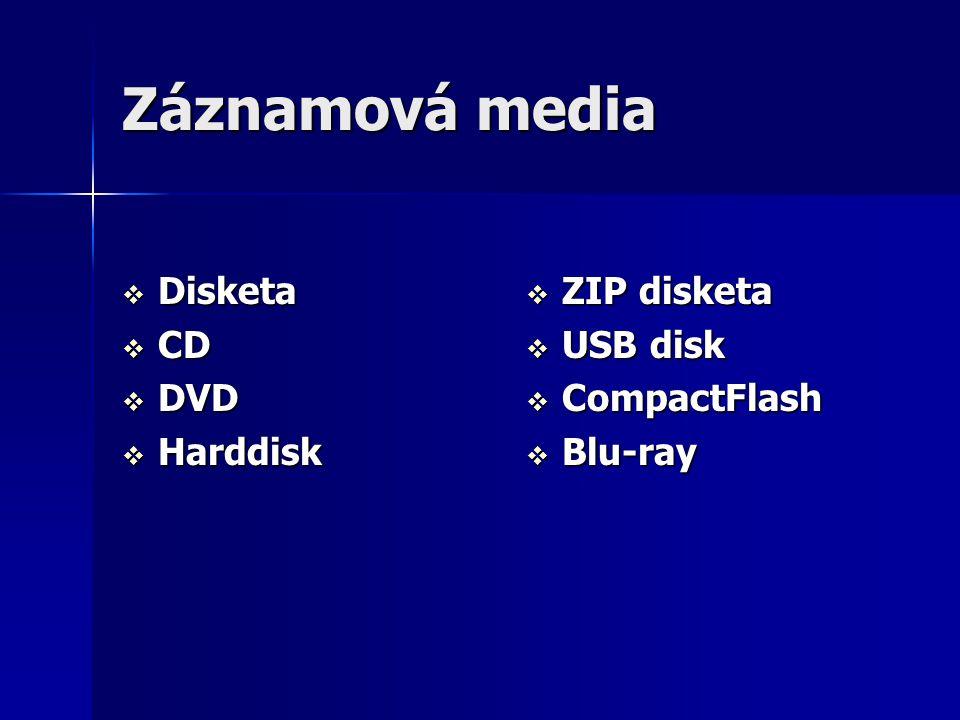 Záznamová media  Disketa  CD  DVD  Harddisk  ZIP disketa  USB disk  CompactFlash  Blu-ray
