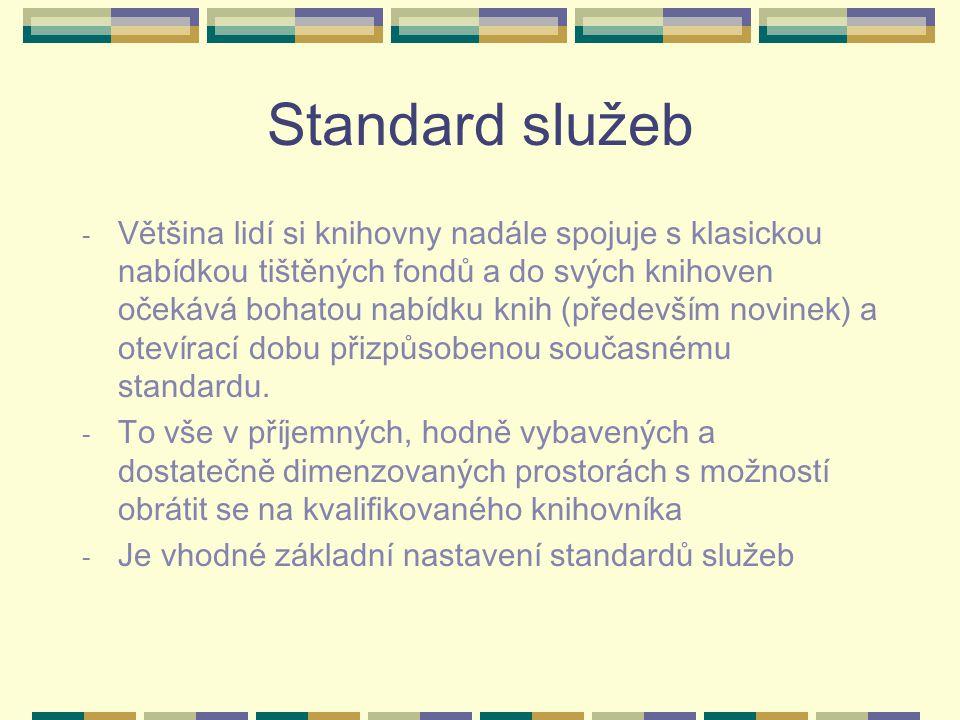 Standard služeb - Většina lidí si knihovny nadále spojuje s klasickou nabídkou tištěných fondů a do svých knihoven očekává bohatou nabídku knih (především novinek) a otevírací dobu přizpůsobenou současnému standardu.
