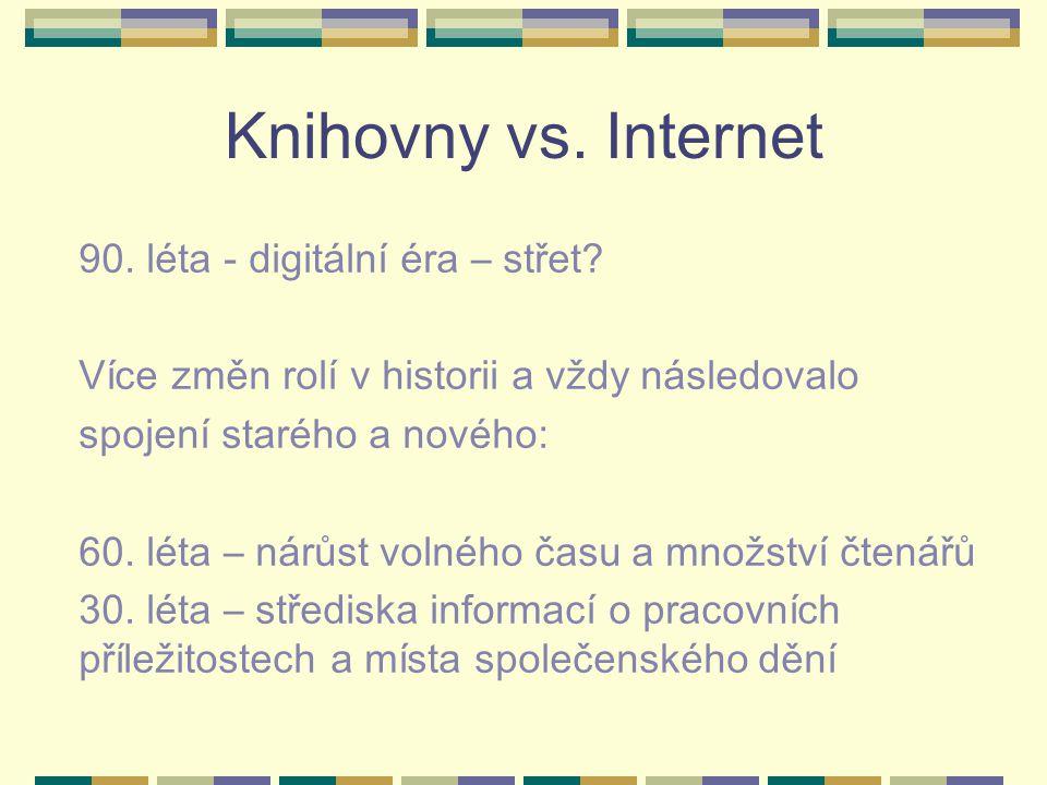 Knihovny vs. Internet 90. léta - digitální éra – střet? Více změn rolí v historii a vždy následovalo spojení starého a nového: 60. léta – nárůst volné